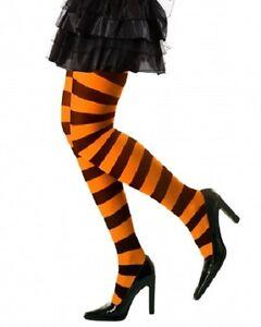 ORANGE STRIPED STOCKINGS WITH BOW HALLOWEEN FANCY DRESS # BLACK