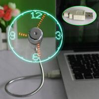 LED USB Fan Clock Mini Flexible Time with LED Light - Cool Gadget Travel Gift