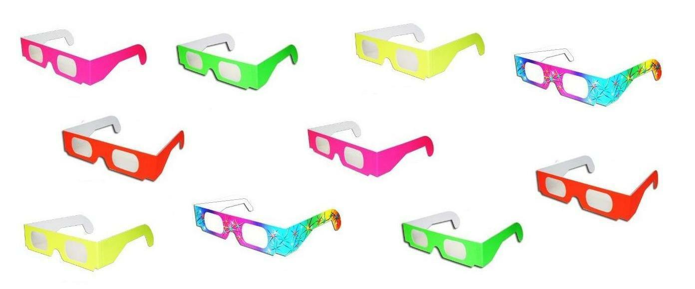 Fireworks 3D Glasses Neon Yellow Parties Discos Raves Amazing Light Show Events