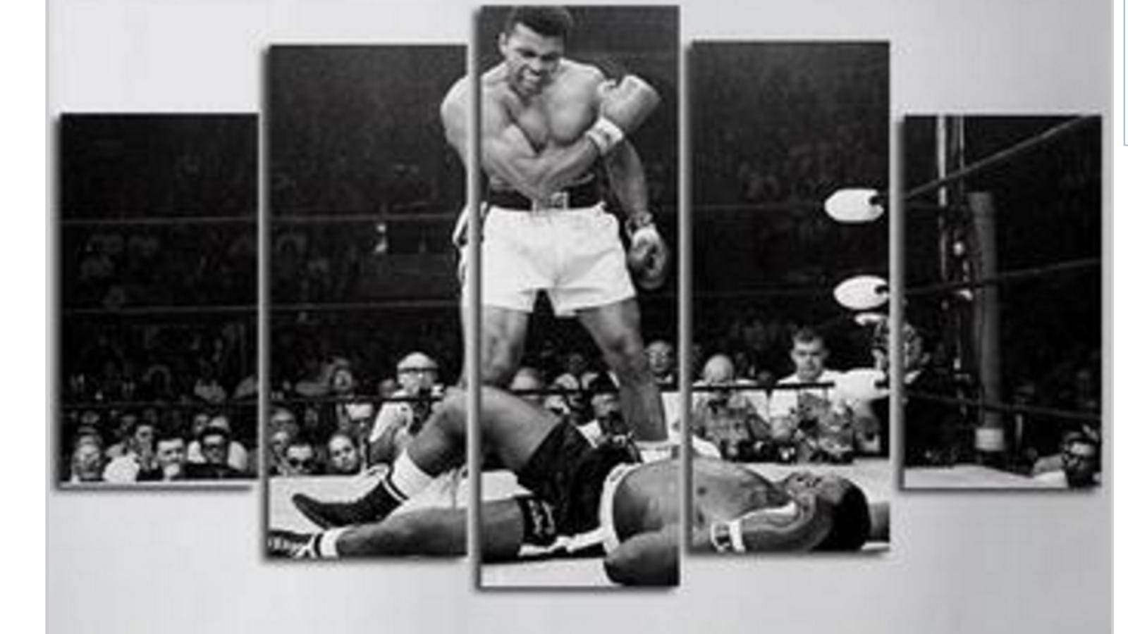 Framed Muhammad Ali Boxing Five Piece Canvas Multi Panel Home Decor Art 5
