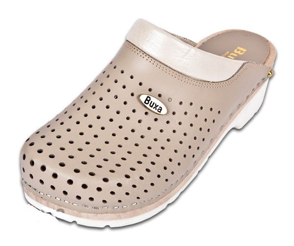 Wooden  medical leather clogs FPU11  Beige color   US shoes Size  Women