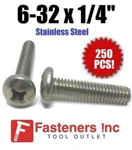"Sheet Metal Screws Stainless Steel Phillips Pan Head #8 x 1-1//4/"" Qty 250"