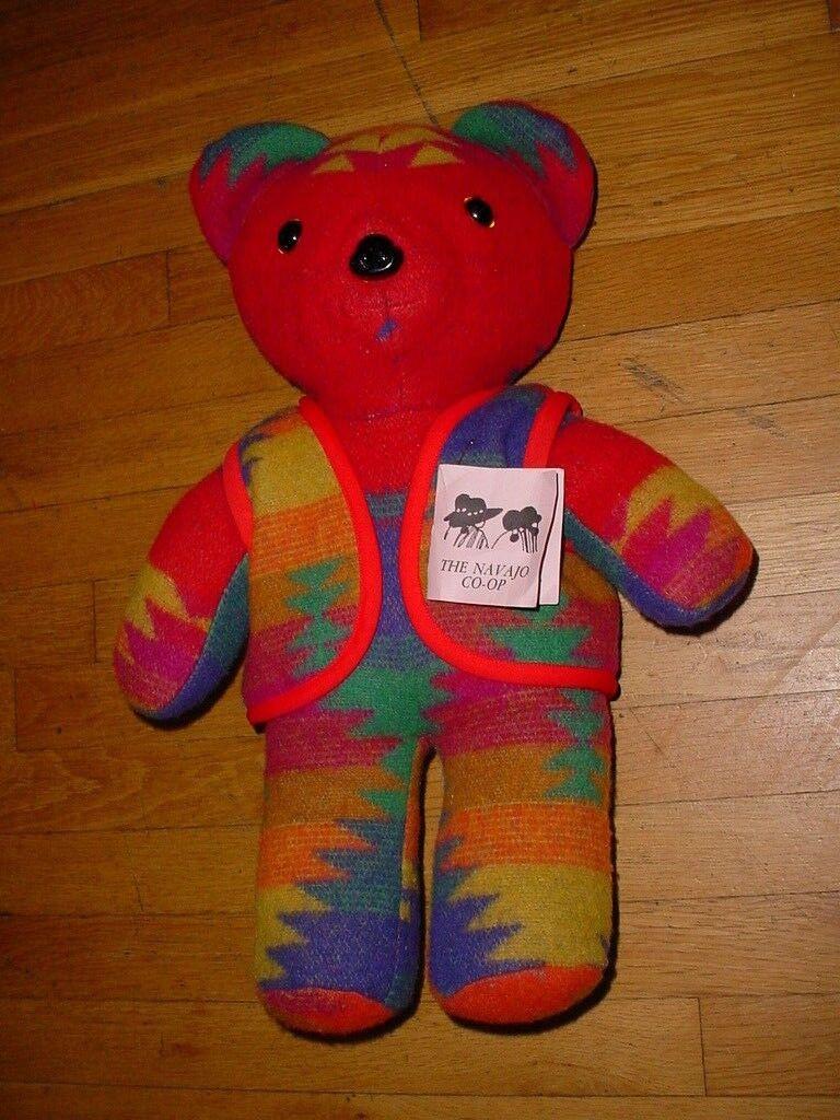 Vintage autentico CO OP Navajo Wool Blanket Teddy Bear Handmade Nuovo Mexico Rare
