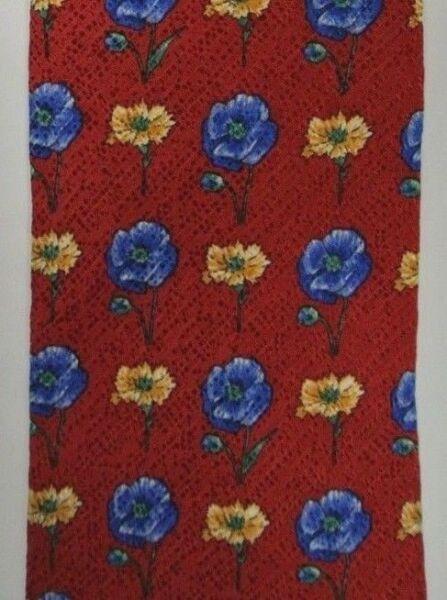 100% Vero Rosso,blu,oro Floreale Seta John Harris Cravatta Made In Italy 9.9cm Largo 145cm
