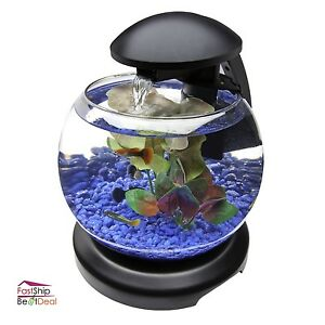 Aquarium starter kit fish tank waterfall 1 8 gallon led for Aquarium waterfall decoration