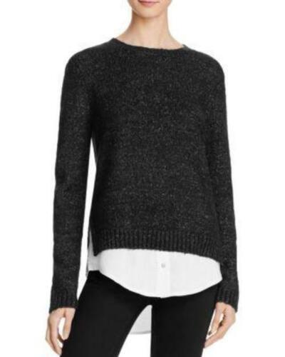 Les fabricants Standard prix de détail $58 Aqua Loop Layered-Look Pull Taille XS Noir