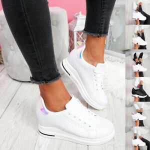 WOMENS-LADIES-LACE-UP-WEDGE-TRAINERS-HEEL-SNEAKERS-SHINY-PARTY-WOMEN-SHOES