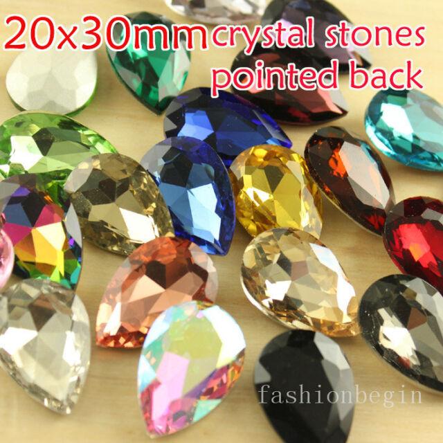 12 Rhinestone 30x20mm pointback Crystal Teardrop Fancy Big Stone Lot chose color