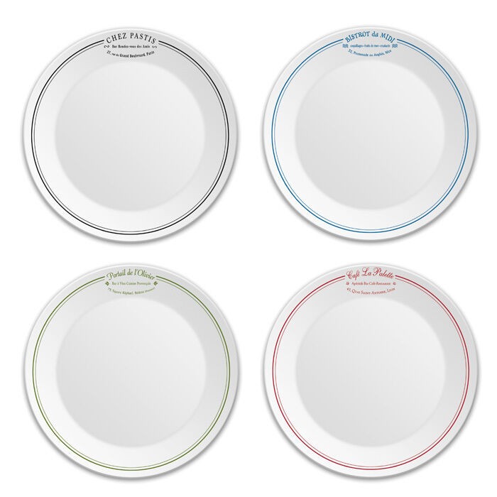 BISTRO HORS D'OEUVRES   DESSERT   APPETIZER PLATES, SET OF 4 - FREE SHIPPING
