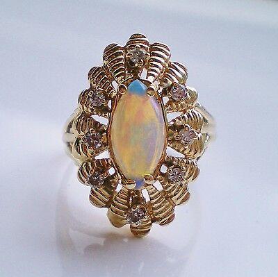 Stunning Vintage 14ct Gold Opal & Diamond (0.24cts) Ring; UK Size 'T 1/2'