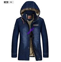 Men's Winter Warm Fur Lining Thicken Zip Up Hooded Denim Jean  Jacket Coat Size