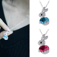 1x Charm Little Rabbit Full Rhinestones Necklaces Lovely Design SOL