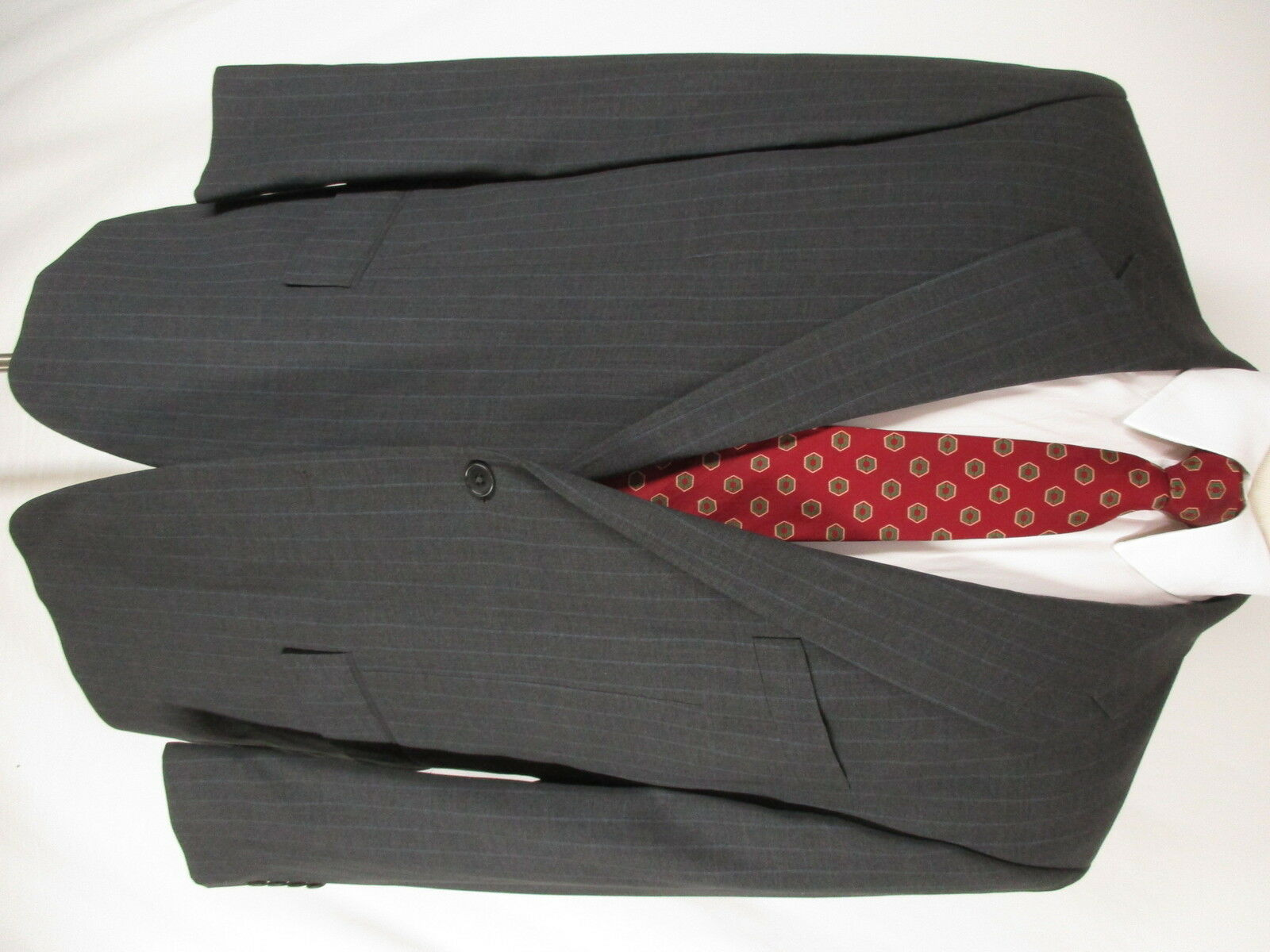 Gianfranco Ferre Mens Charcoal Stripe 2 Btn Suit 46L  Made