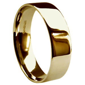 Image Is Loading 8mm 9ct Yellow Gold Flat Court Wedding Rings