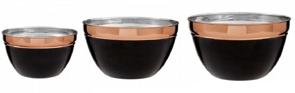 Prescott Mixing Bowl Small Medium Large Stainless Steel Charcoal & Copper Tones