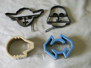 9526457e837cd Details about 4 STAR WARS METAL COOKIE CUTTERS DARTH VADER YODA TIE FIGHTER  MILLENIUM FALCON