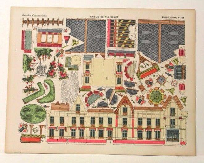 Imagerie d'epinal No198 Maison de Plaisance, grandes construcciones Juguetepaper Modelo