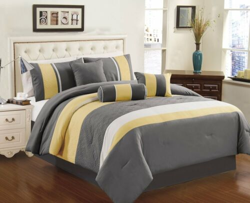 Chezmoi Collection Sunvale 7-piece Bedding Set, Yellow Grey White Comforter Set