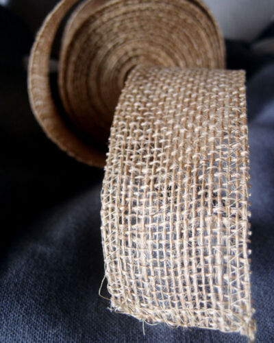 """Available in 4 Colors 2/"""" Burlap Ribbon 10 Yard Roll"""