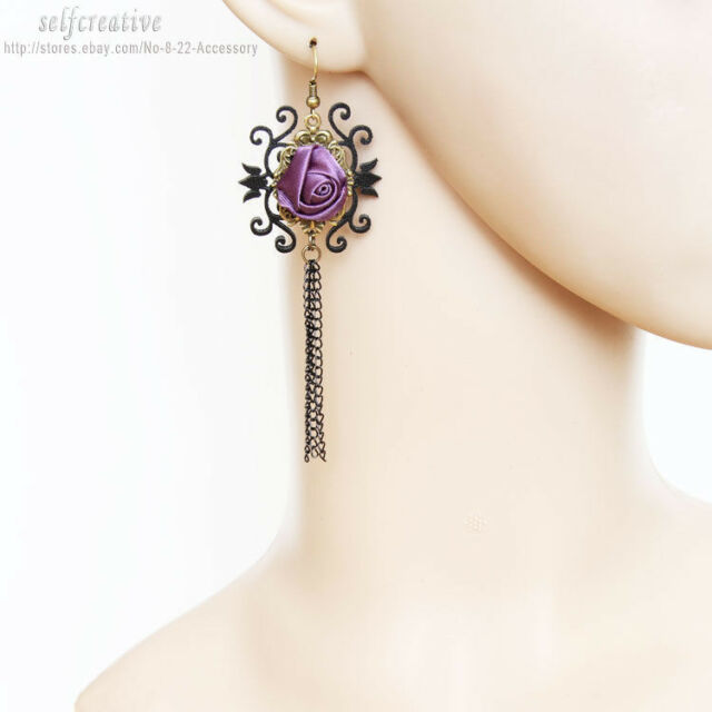 Black PU Leather Flower Ross Chain Dangle Handmade Lolita Goth Vintage Earrings