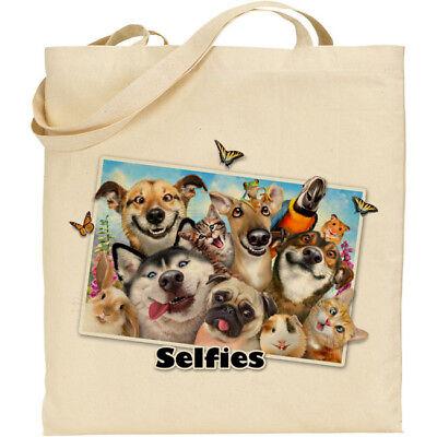 H Robinson Fun Selfie Image Reusable Cotton Shopping//Tote//Beach Bag Asstd Dogs