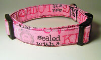Wet Nose Designs Sealed With A Kiss Dog Collar Pink Valentines Day Love Xoxo