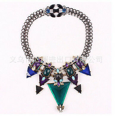 new design women mixed rainbow multi crystal bib statement necklace collar hot
