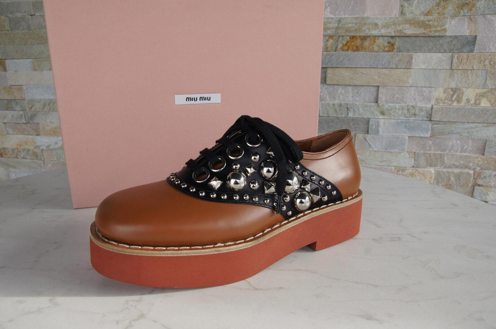 Miu Miu 37,5 Chaussures Basses Chaussure Lacée chaussures rivets tabac Noir Nouveau ehemuvp