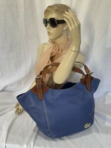 DOONEY-and-BOURKE-Large-Authentic-Blue-Leather-Tote-Satchel-Bag