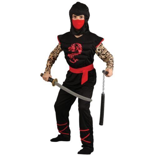 Ragazzi muscoli sul petto Ninja Costume Libro Settimana Costume TATUATA Outfit Età 5-10