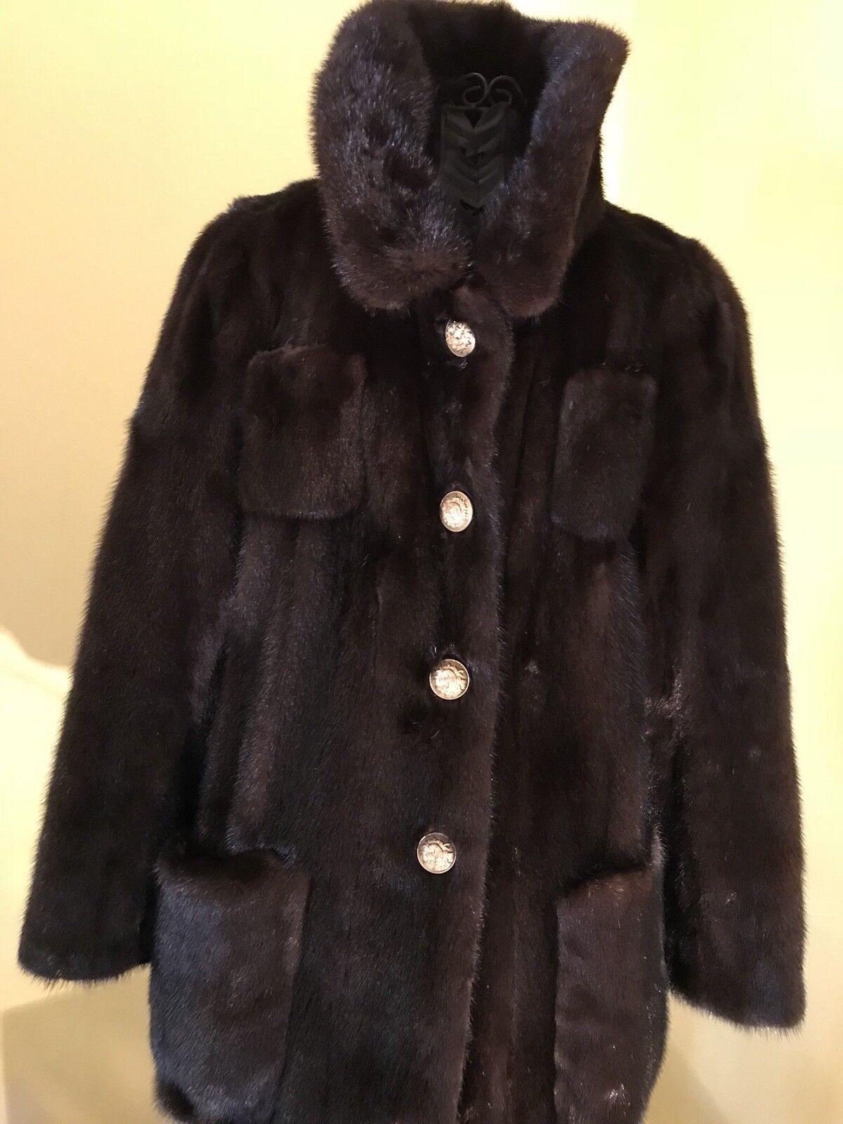 Genuine Dark Brown Mink Beautiful Vintage Real Fur Coat- Size M Women's