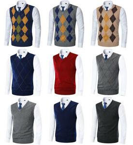 Mens-Knitted-Tank-Top-Argyle-Sleeveless-Jumper-Golf-Sweater-Vest-V-Neck-Pullover