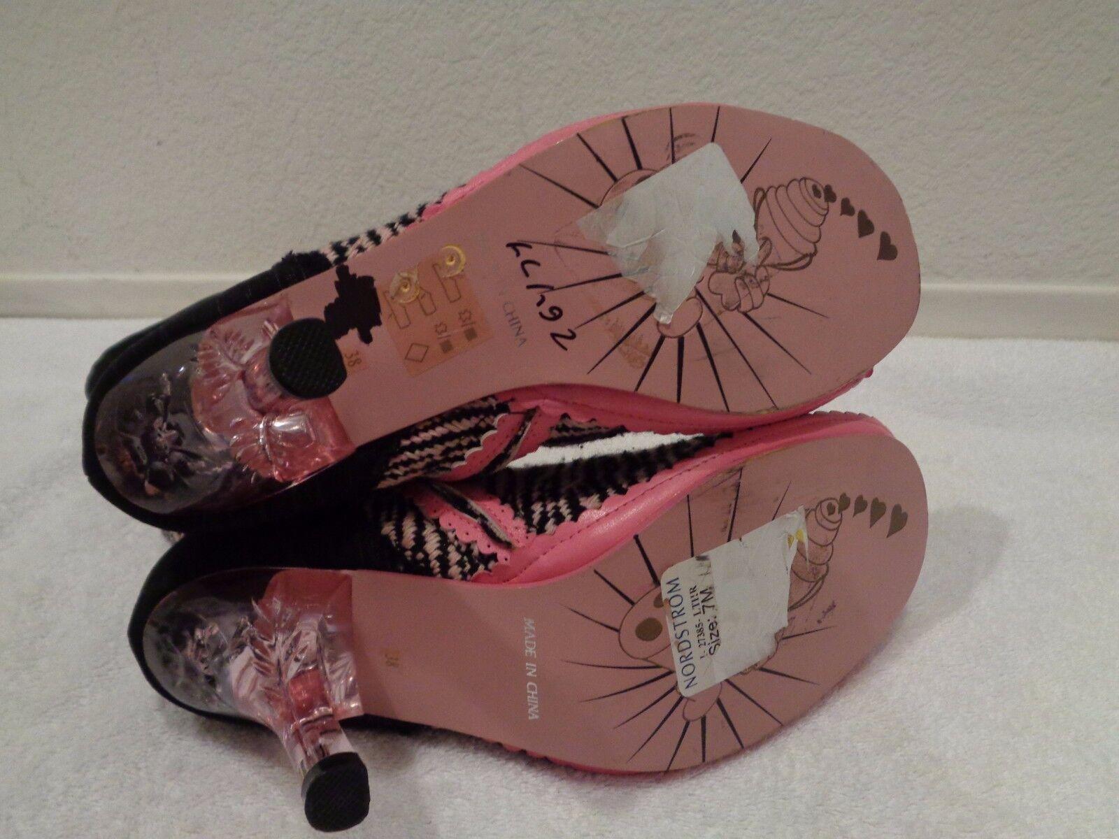 Irregular Choice Southwestern GRANNY Stiefel Schuhes PINK BLACK MOCCASINS SZ 38/7