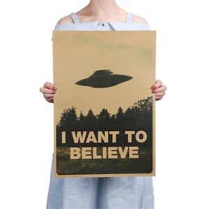 Vintage-Classic-X-FILES-034-I-Want-To-Believe-034-Home-Room-Decor-Kraft-Paper-Poster