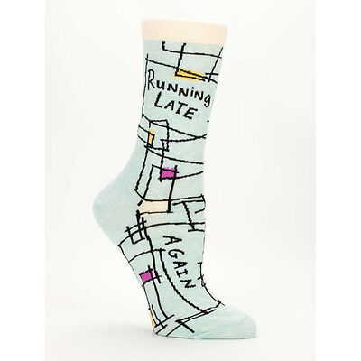 Women's Crew Socks, Running Late, Again, Blue Q Cotton Funny Novelty Gifts
