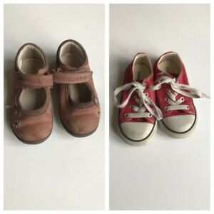 7f6cd87b73b Converse Clarks 2 X Pairs Girls Shoes Red Lo Trainers Tan Leather ...