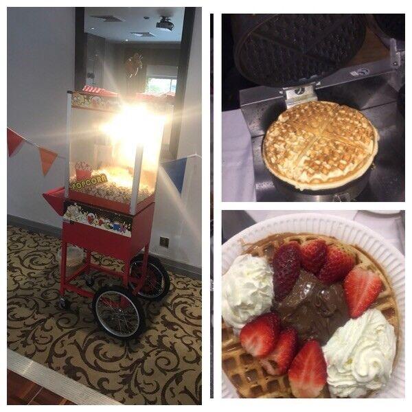 Máquina de palomitas de maíz waffle máquina y contratar