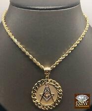 "10k Yellow Gold 30"" Rope Chain&10k Yellow Gold Miami Cuban Masonic Charm Pendent"