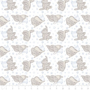 Disney-Dumbo-Elephant-amp-Stars-Blue-Camelot-100-cotton-fabric-by-the-yard