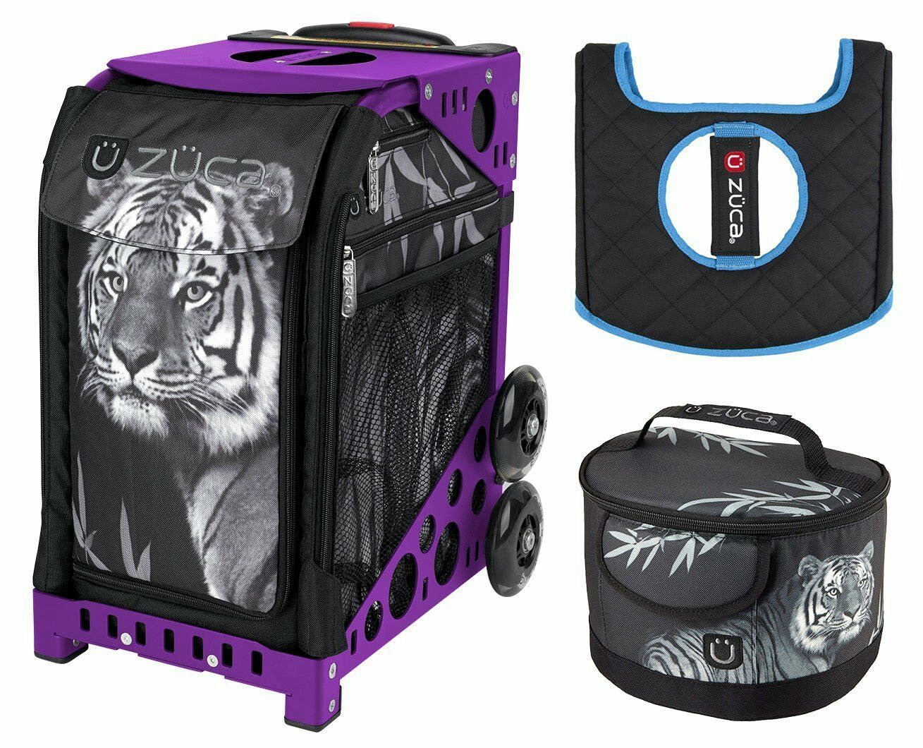 Zuca Bag TIGER Sport Insert and Purple Frame, GIFT Lunchbox & Seat Cushion