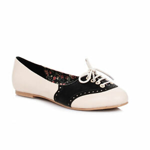 Bettie-Page-BP100-HALLE-Black-Saddle-Shoe-Rockabilly-Roller-Derby-Oxford-Flats