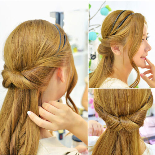 Women Double Layer Adjustable Head Hair Hoop Elastic Hair Rope Hair Band S/&K