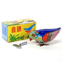Wind Up Blue Bird Tin Toy Pecking Modern Retro Style In Box Boys & Girls