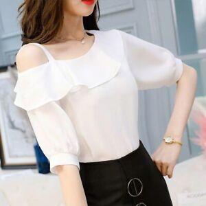 Women-Chiffon-Sexy-Ruffle-One-Shoulder-Short-Sleeve-T-Shirt-Ladies-Summer-Blouse