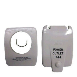 Clipsal-Old-Style-IP44-Caravan-RV-10AMP-Power-Outlet-Flap-Cover