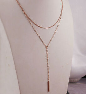 18k-18ct-Rose-Gold-GF-Vertical-Bar-Layered-Multi-Chain-Y-Necklace