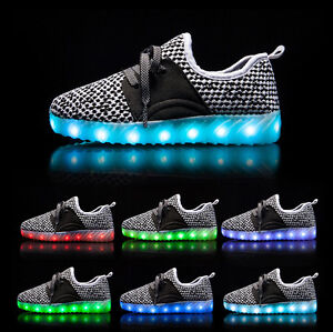 Details About Ventilate Kids Children Luminous Sneakers Led Light Up Usb Charge Lace Up Shoes