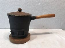Vintage Pacific Cast Iron Hibachi Mini Tabletop Grill Wood Base With Cover