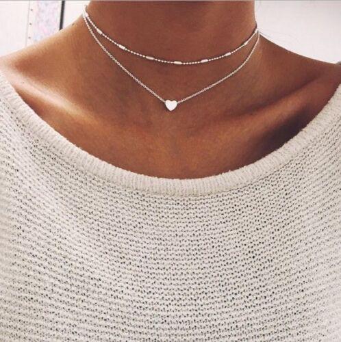 Damen doppel Kette Halskette silber gold Herz 2er Set Blogger kurz Statement neu