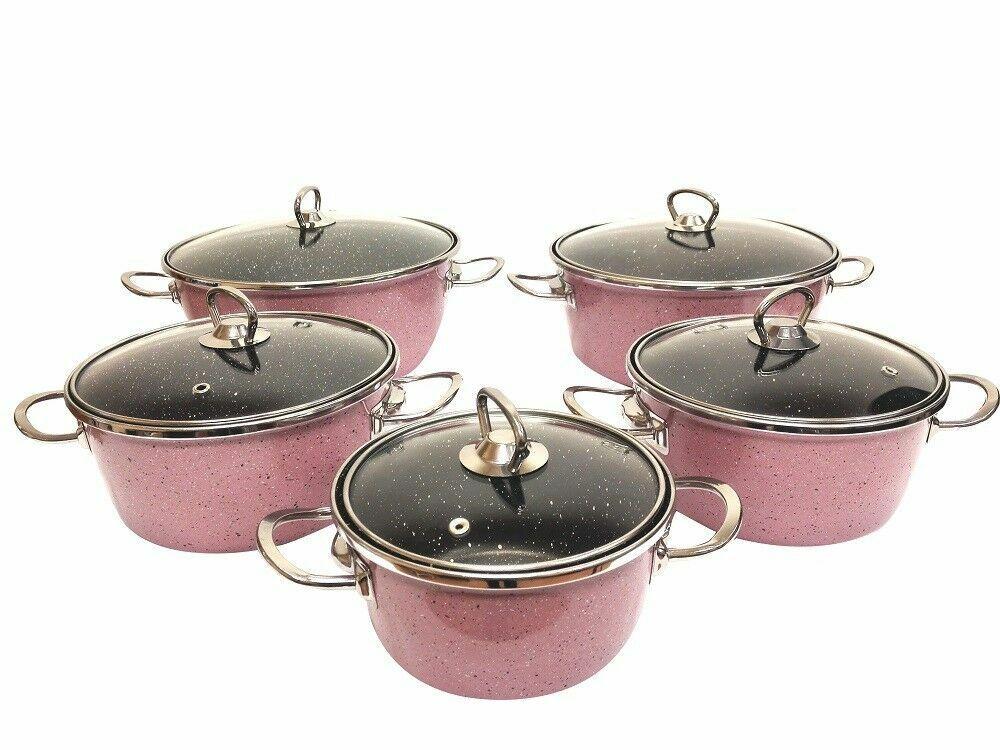 5015 Haute Qualité émail Cookware Set, Rose Crème, made in TURQUIE